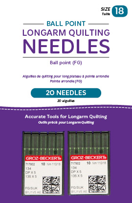 Ball Point Longarm Needles - Two Packages of 10 (18/110-FB, Ball Point)