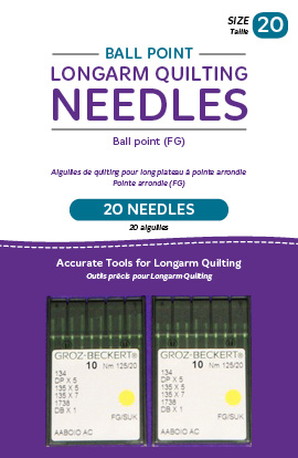 Ball Point Longarm Needles - Two Packages of 10 (20/125-FB, Ball Point)