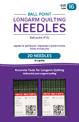 Ball Point Longarm Needles - Two Packages of 10 (16/100-FB, Ball Point)