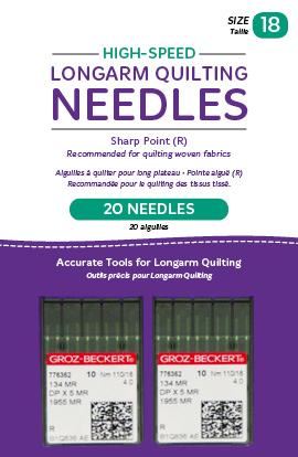 High-Speed Longarm Needles - Two Packages of 10 (Crank 110/18 134MR-4.0)
